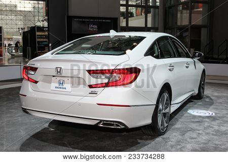 NEW YORK CITY-MARCH 28: Honda Accord Touring shown at the New York International Auto Show 2018, at the Jacob Javits Center. This was Press Preview Day One of NYIAS, on March 28, 2018.