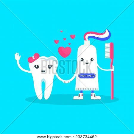 Cute Happy Smiling Tooth Love Toothpaste. Flat Vector Cartoon Character Illustration. Care Of Teeth.