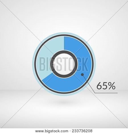 65 Percent Pie Chart Isolated Symbol. Percentage Vector Infographics. Circle Diagram Sign. Business
