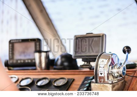 Sailing Navigation Panel Console On Sail Boat. Navi Sea Equipment, Screens And Modern Compass