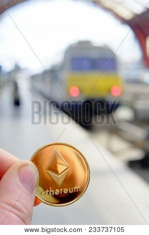 Ethereum Payment For Traveling At A Trainstation For A Train Fare Using Cryptocurrency In Real Life