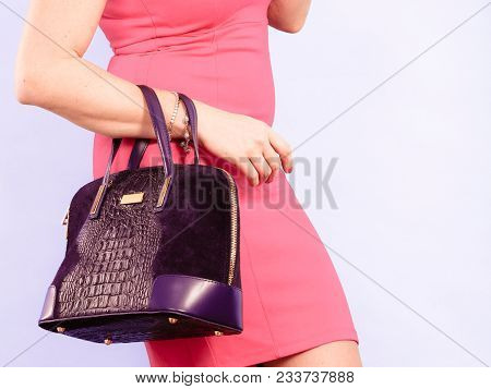 Fashion Of Women. Clothing And Accessories. Mid Aged Blonde Fashionable Woman With Handbag. Elegant