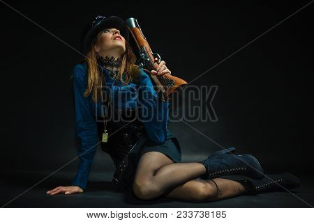 Subculture Fashionable Victorian Elegant Weapon Concept. Steampunk Girl Armed And Dangerous. Lady Dr