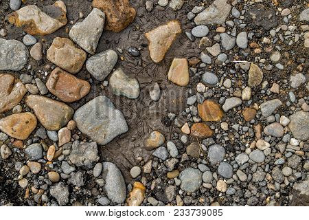 Rock Background. Stony Soil. Earth Texture. Nature Background. Ground And Stones