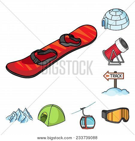 Ski Resort And Equipment Cartoon Icons In Set Collection For Design. Entertainment And Recreation Ve