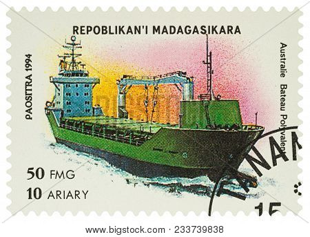 Moscow, Russia - March 31, 2018: A Stamp Printed In Madagascar Shows Australian Cargo Ship, Series