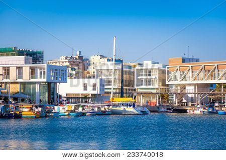 View Of Limassol Old Port Harbour. Cyprus.
