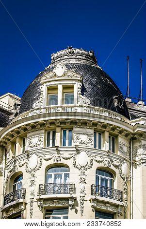 Historical Metropolis Building And Gran Via Main Shopping Street In Madrid, Spain.