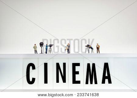 A Film Crew Shooting A Love Scene.