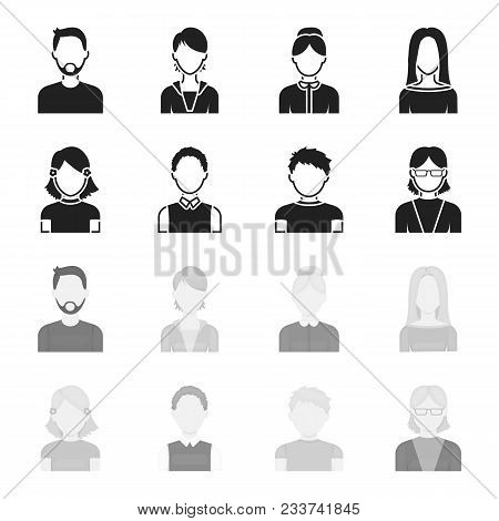 Red-haired Boy, Teen Girl, Grandmother Wearing Glasses.avatar Set Collection Icons In Black, Monochr