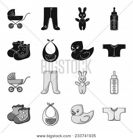 Socks, Bib, Toy Duck, Raspashonka.baby Born Set Collection Icons In Black, Monochrome Style Vector S