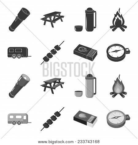 Trailer, Shish Kebab, Matches, Compass. Camping Set Collection Icons In Black, Monochrome Style Vect