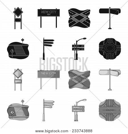 Direction Signs And Other  Icon In Black, Monochrome Style.road Junctions And Signs Icons In Set Col
