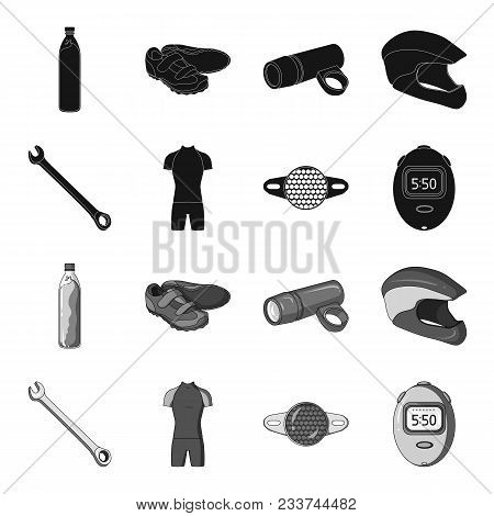 A Wrench, A Bicyclist Bone, A Reflector, A Timer.cyclist Outfit Set Collection Icons In Black, Monoc
