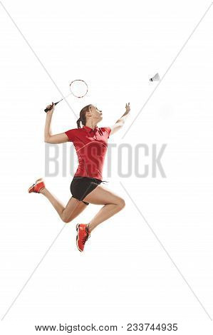 Young Woman Playing Badminton Over White Studio Background. Fit Female Athlete Isolated On White. Ba