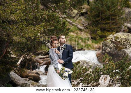Wedding Beautiful Couple Sexy Bride Dress Young Girl Brutal Groom With Beard And Gray. Stylish Man I