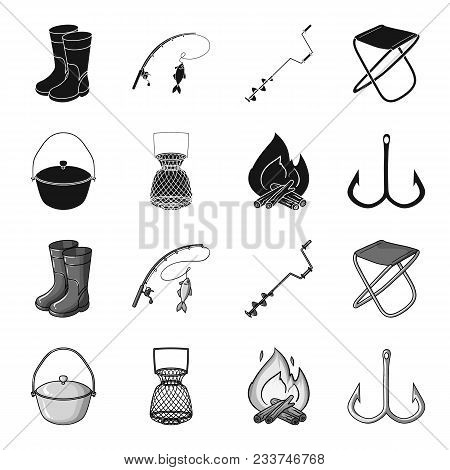 Catch, Hook, Mesh, Caster .fishing Set Collection Icons In Black, Monochrome Style Vector Symbol Sto