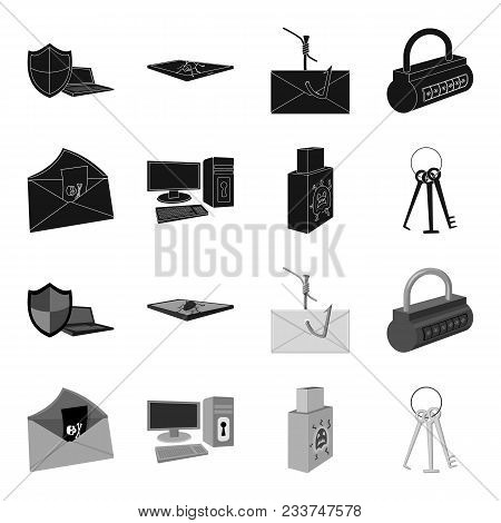 Virus, Monitor, Display, Screen .hackers And Hacking Set Collection Icons In Black, Monochrome Style