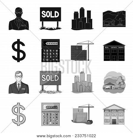 Calculator, Dollar Sign, New Building, Real Estate Offices. Realtor Set Collection Icons In Black, M