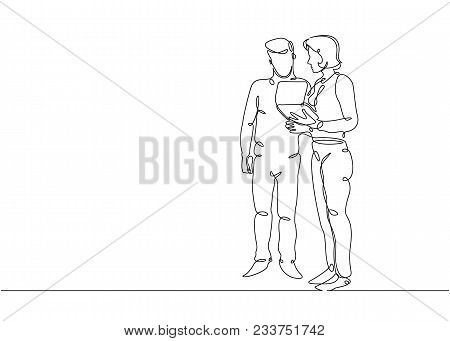 Continuous Line Drawing Of Man And Woman Discussing Work