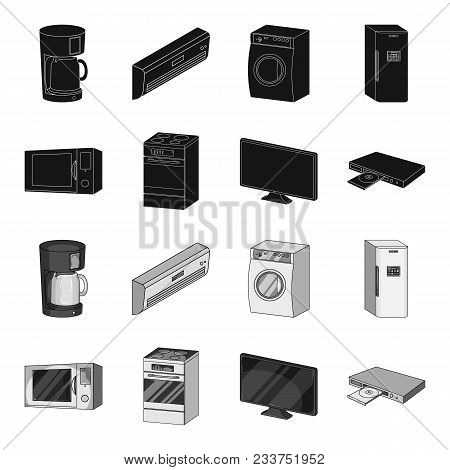 Home Appliances And Equipment Black, Monochrome Icons In Set Collection For Design.modern Household