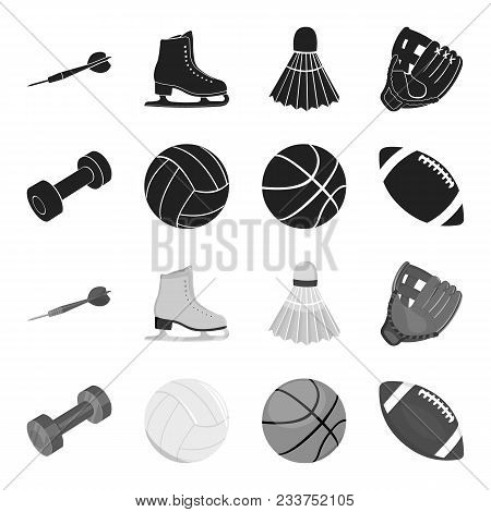Blue Dumbbell, White Soccer Ball, Basketball, Rugby Ball. Sport Set Collection Icons In Black, Monoc