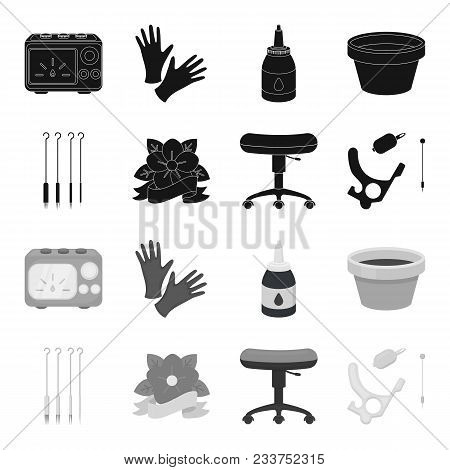 Chair On Rollers, Needles For Tattoo And Other Equipment. Tattoo Set Collection Icons In Black, Mono