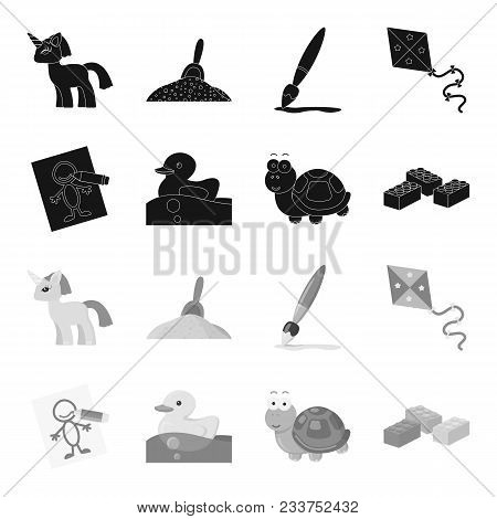 Children Toy Black, Monochrome Icons In Set Collection For Design. Game And Bauble Vector Symbol Sto