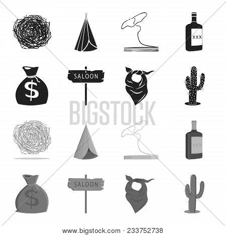 Bag Of Money, Saloon, Cowboy Kerchief, Cactus. Wild West Set Collection Icons In Black, Monochrome S