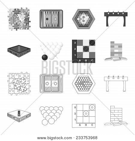 Board Game Outline, Monochrome Icons In Set Collection For Design. Game And Entertainment Vector Sym