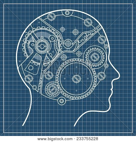 Gear repeating unit vector photo free trial bigstock human head it symbolizes the process of thinking the emergence of ideas decision making and artificial intelligence isolated on blueprint background malvernweather Choice Image