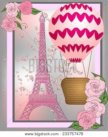 Vintage France Poster Design. Romantic Background With Eiffel Tower And Roses.