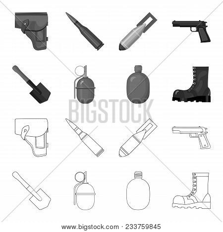 Sapper Blade, Hand Grenade, Army Flask, Soldier Boot. Military And Army Set Collection Icons In Outl