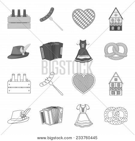 Tyrolean Hat, Accordion, Dress, Pretzel. Oktoberfest Set Collection Icons In Outline, Monochrome Sty