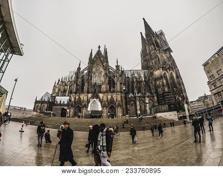 The Cologne Cathedral And People Around