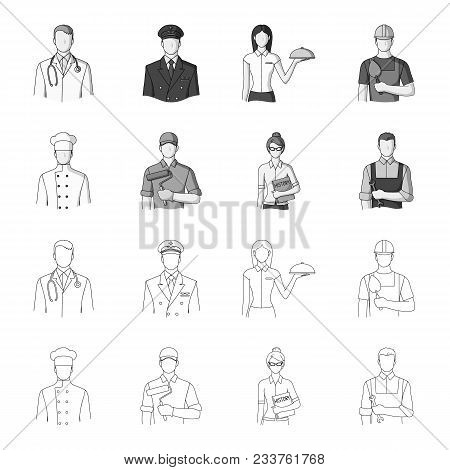Cook, Painter, Teacher, Locksmith Mechanic.profession Set Collection Icons In Outline, Monochrome St