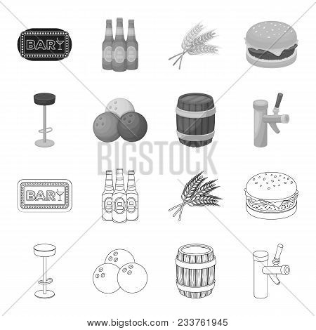 Restaurant, Cafe, Chair, Bowling Ball .pub Set Collection Icons In Outline, Monochrome Style Vector