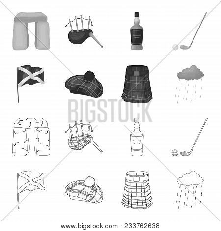 Flag, Kilt, Rainy Weather, Cap.scotland Country Set Collection Icons In Outline, Monochrome Style Ve