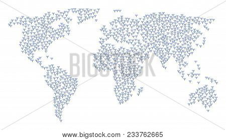 Geographic Mosaic Map Designed Of Wi-fi Station Icons. Vector Wi-fi Station Scatter Flat Items Are C