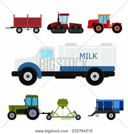 Agriculture Industrial Farm Equipment Machinery Tractors Combines And Excavators Vector Illustration