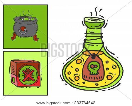 Bottle with potion game magic glass cards elixir poisoning toxic substance dangerous toxin drug container vector illustration. Pharmacy poisonous fluid chemistry medical liquid. poster