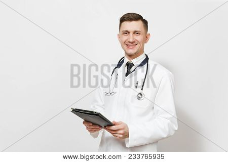 Smiling Experienced Handsome Young Doctor Man Isolated On White Background. Male Doctor In Medical U