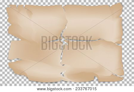 Realistic Old Paper. Grunge Texture Of Damaged Parchment On Plaid Square Background. Vector Illustra