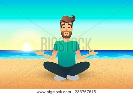 Cartoon Flat Happy Man Sitting On Beach And Meditating. Illustration Of Handsome Male Relaxed Calm I