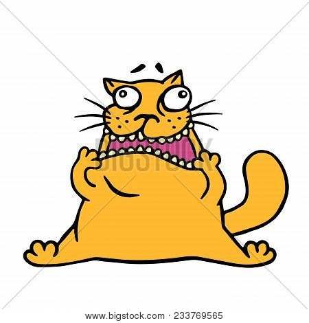 Cute Doodle Orange Cat Looks Like A Jerk. Vector Iillustration