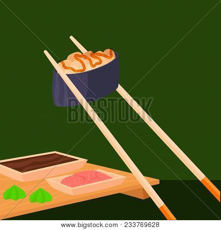 Sushi Rolls Vector Food And Japanese Gourmet Seafood Traditional Seaweed Fresh Raw Dish Illustration