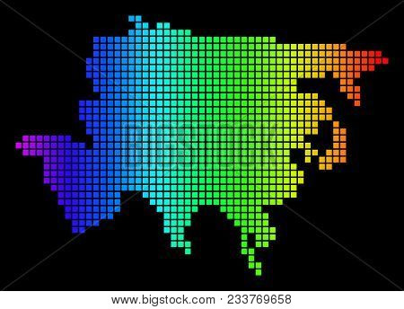 Spectrum Dotted Asia Map. Vector Geographic Map In Bright Colors On A Black Background. Colorful Vec