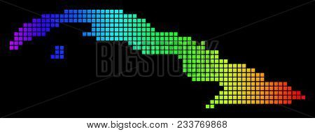Spectrum Dotted Cuba Map. Vector Geographic Map In Bright Colors On A Black Background. Colorful Vec