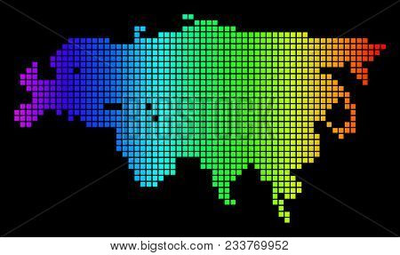 Spectrum Dotted Europe And Asia Map. Vector Geographic Map In Bright Colors On A Black Background. C