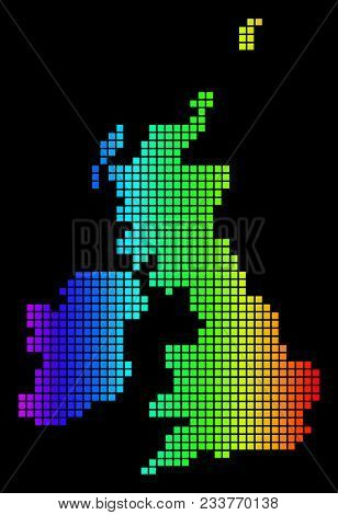 Spectrum Dotted Great Britain And Ireland Map. Vector Geographic Map In Bright Colors On A Black Bac